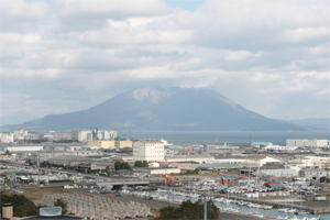 病棟から見える桜島