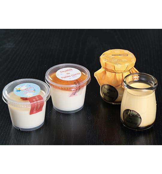 豆乳で作った杏仁豆富、甘すぎない豆乳パンナコッタ、知覧の卵を使用した なめらか豆乳プリン